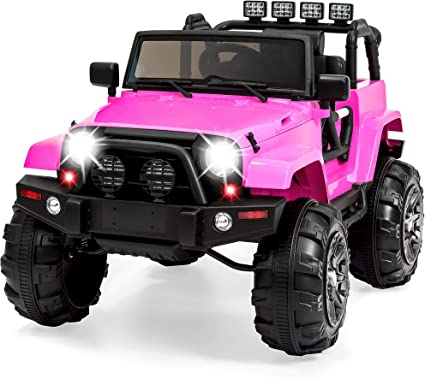 Amazon Com Best Choice Products Kids 12v Ride On Truck W Remote Control 3 Speeds Led Lights Wireless Media Pairing Pink Toys Games