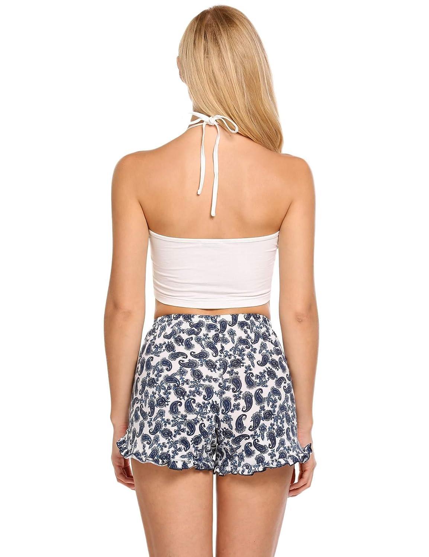 22421578c0 Ekouaer Womens Short Pajama Set Letter Print Cami Top Striped Shorts  Sleepwear at Amazon Women s Clothing store