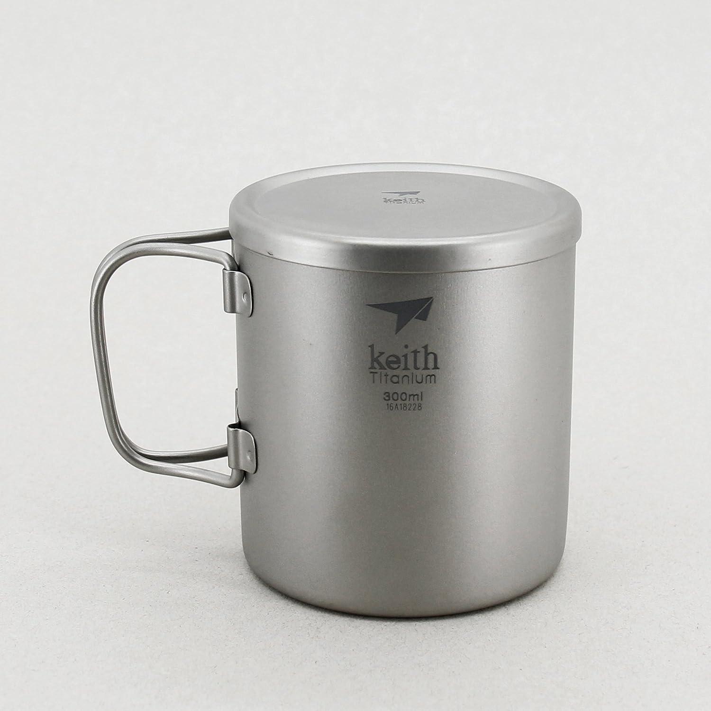 TOAKS Outdoor Camping Double Wall Titanium Cup Folded Handle Titanium Coffee Mug
