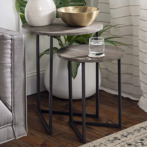 Walker Edison Modern Round Metal Base Nesting Set Side Accent-Living-Room Storage Small End Table