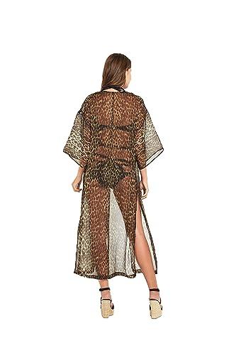 03f07649b0a80 Lipsy Michelle Keegan Longline Maxi Beach Kaftan in Animal Print Size XL:  Amazon.co.uk: Clothing
