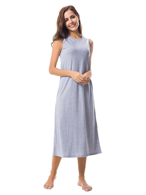 SIORO Mujer Ropa De Dormir Largo Camisones Camisón Suelto Algodón mujeres Vestido de noche sin mangas Pijama