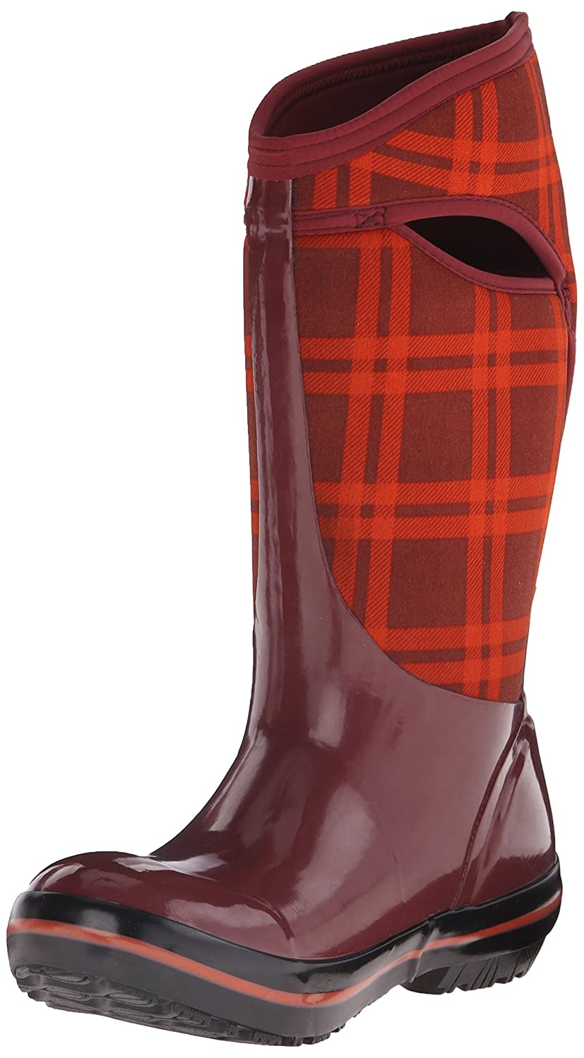 Bogs Women's Plimsoll Plaid Tall Winter Snow Boot B00QMMDCWI 6 B(M) US|Ox Blood