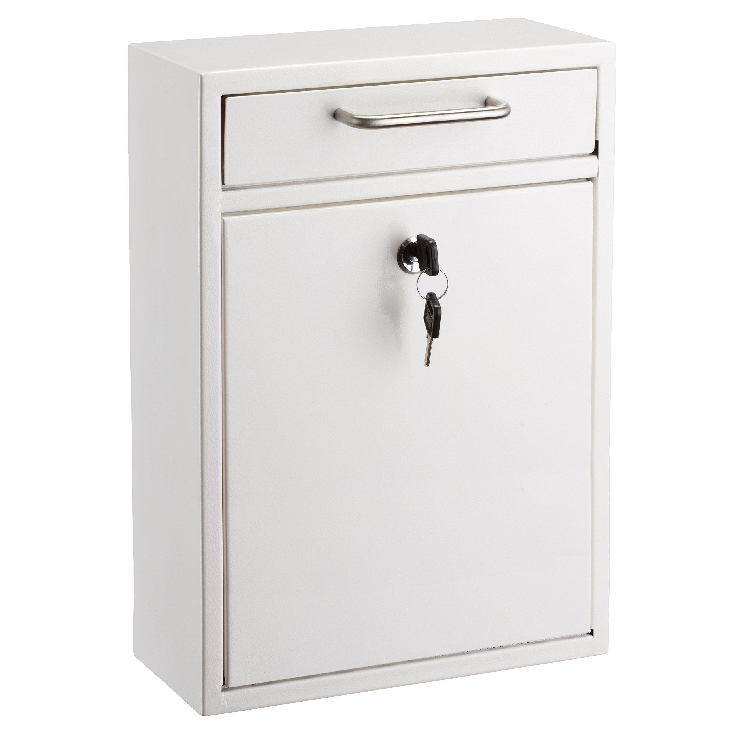 AdirOffice Locking Drop Box – Wall Mounted Mailbox – (Large, White)