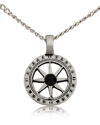 Blue Crystal Mayan Sun Symbol Silver Pewter Charm Necklace Pendant