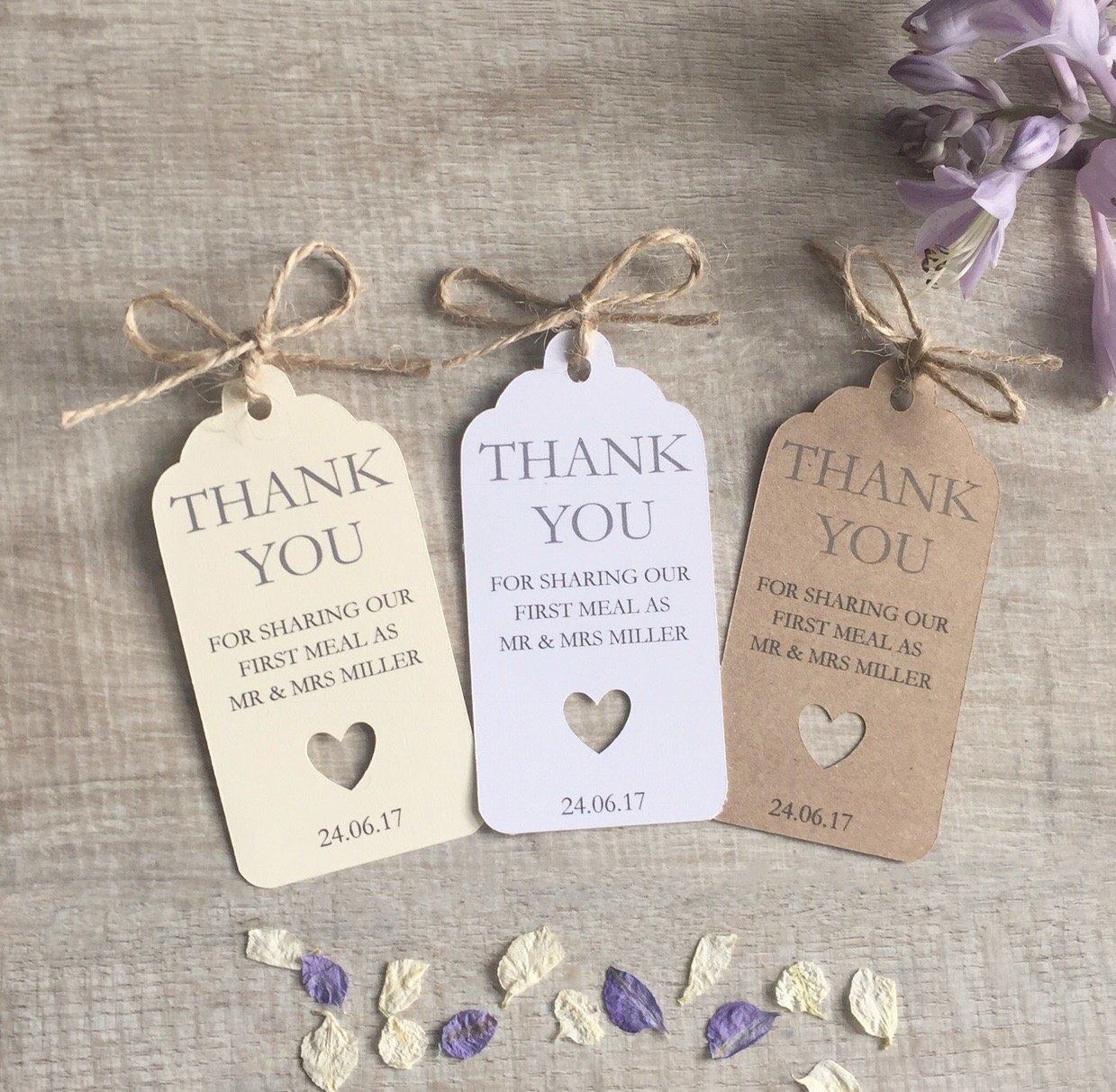 10 Personalised Wedding Favour First Meal Thank You Tags: Amazon.co ...