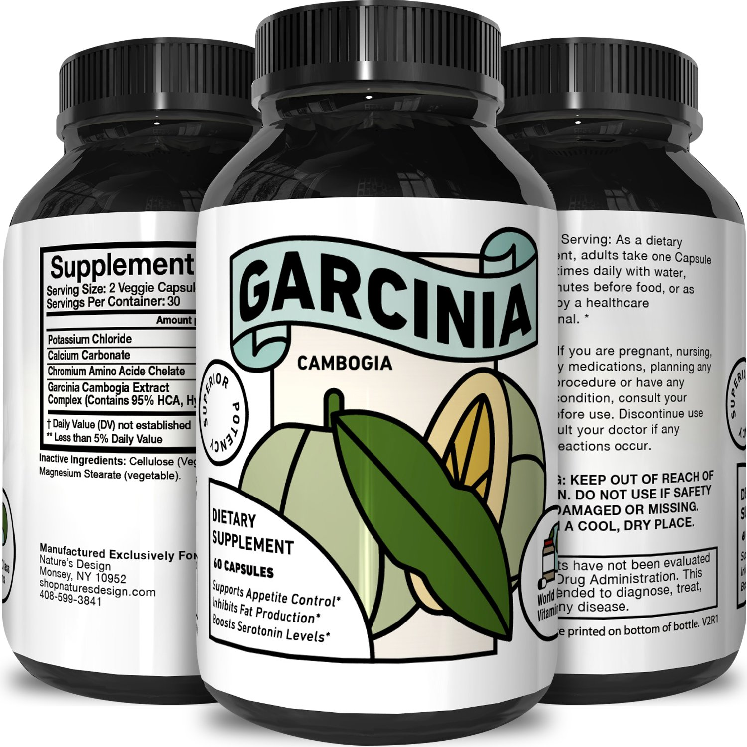 World Class Vitamins Garcinia Cambogia Superior Potency Natural Dietary Supplement for Unisex (60 Capsules)