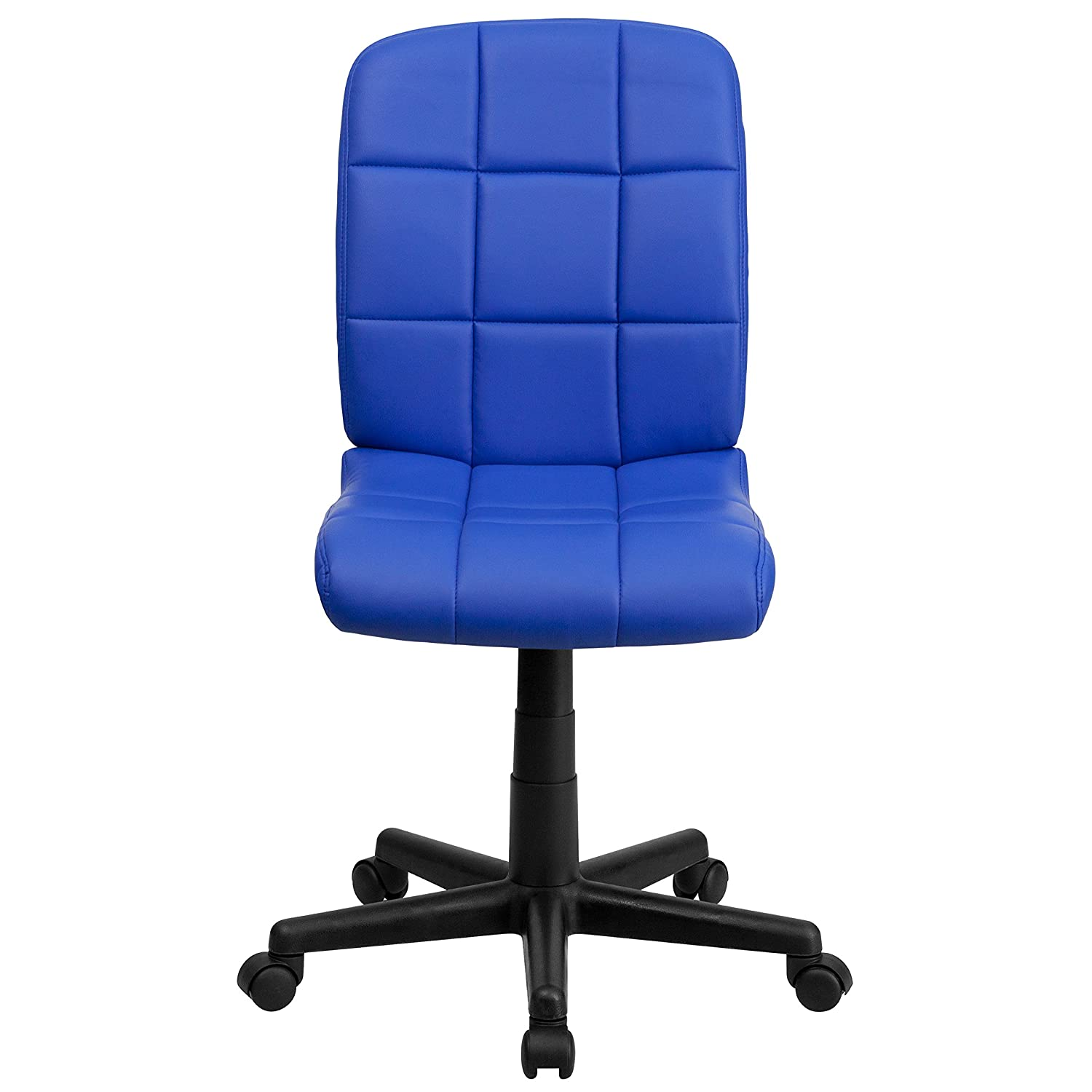 Blue Quilted Office Desk Chair Seat Home Swivel Wheels