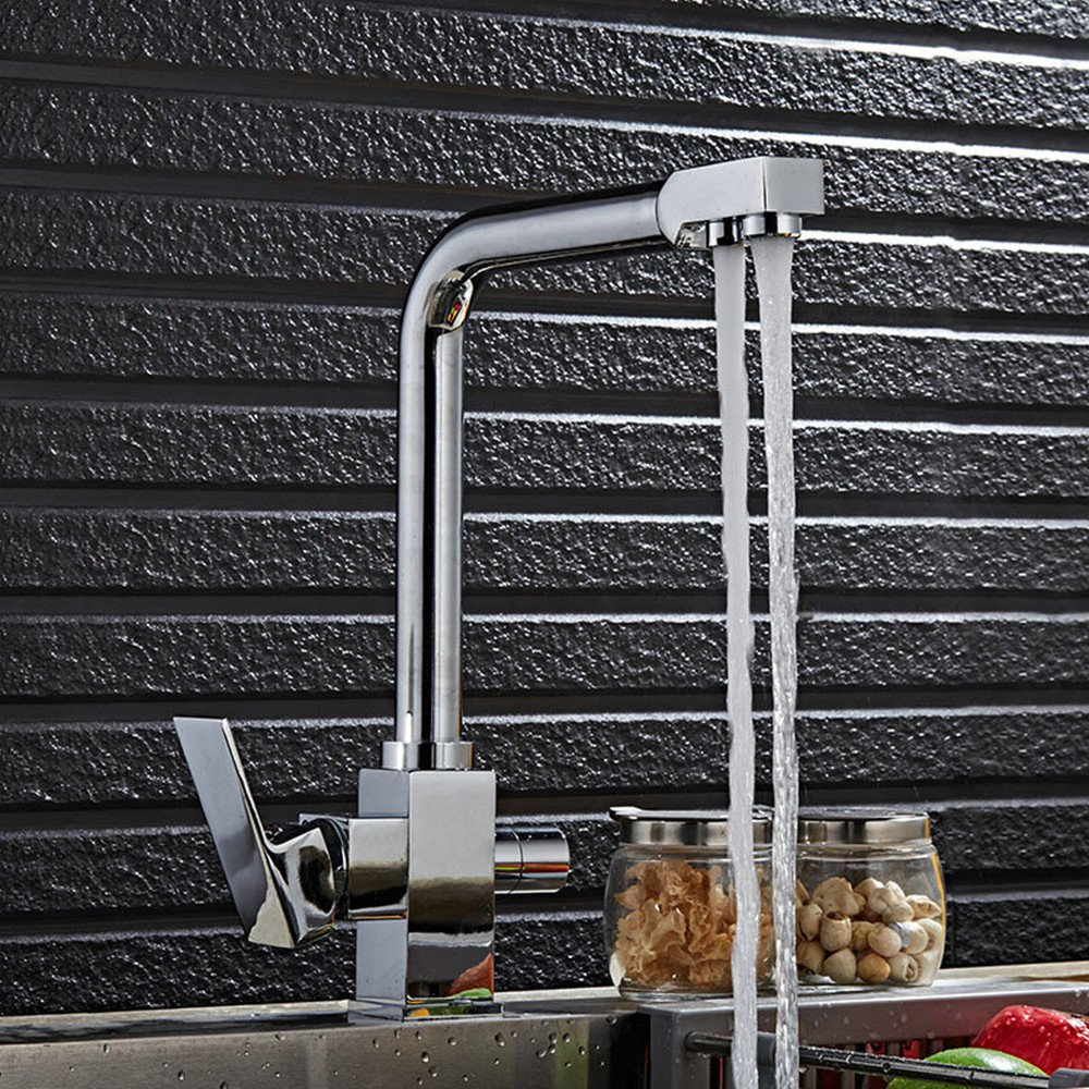A Chrome color Hlluya Professional Sink Mixer Tap Kitchen Faucet redate the water kitchen faucet full copper hot and cold kitchen tap water purifier double-tap water, gold.