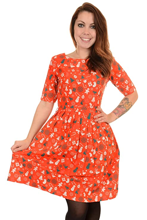 1960s Dresses | 60s Dresses Mod, Mini, Jakie O, Hippie  60s Red Christmas Holiday Dress Run & Fly Ladies 50s £34.99 AT vintagedancer.com