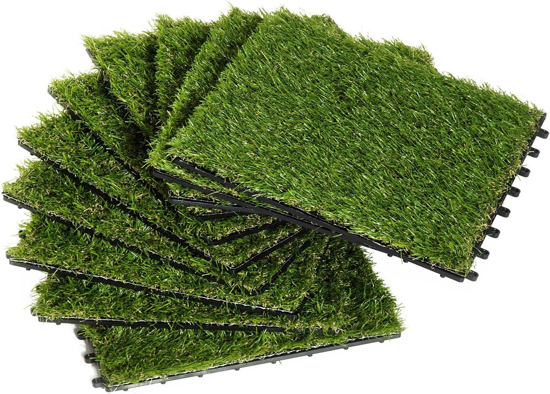 Outsunny Césped Artificial Tipo Alfombra o Estera de Hierba Sintética de Exterior Interior 30x30 25mm para Jardín y Terraza 10 Piezas Densidad 6500