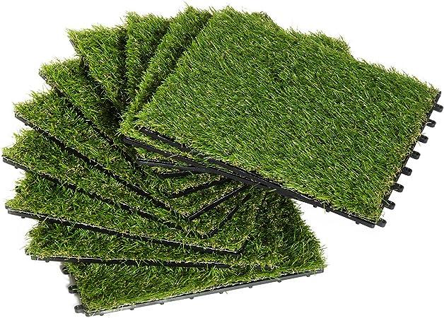 Outsunny Césped Artificial Tipo Alfombra o Estera de Hierba Sintética de Exterior Interior 30x30 25mm para Jardín y Terraza 10 Piezas Densidad 6500: Amazon.es: Jardín