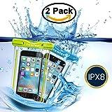 "[IPX8 Certificato] Custodia Impermeabile,[2 Pack] iVoler Custodia Cellulare Impermeabile Universale 6 Pollici Waterproof Cover Case Impermeabile per Apple iPhone 7, 7 Plus,6s / 6, 6s Plus / 6 Plus, SE 5S 5C, Samsung Galaxy S8/S8/S7/S7 Edge/S6/S6 Edge/Edge+, Note 5/4/3/Edge, Huawei P10/P10 Lite/P9/P9 Lite/P8 Lite, Nexus, ASUS, LG, HTC, Sony Xperia, Motorola ed Smartphone Uguale o Inferiore a 6"",ecc - Garanzia a vita (Blu+Verde)"