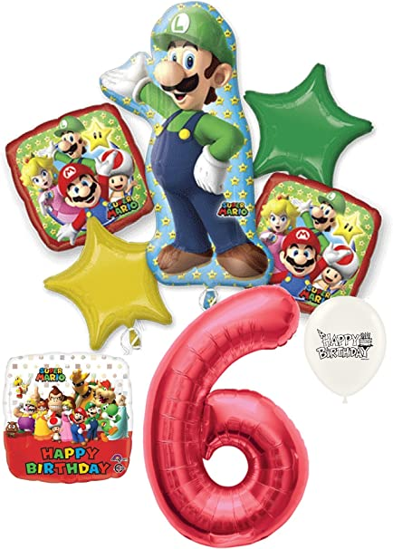 Amazon.com: 6th cumpleaños Luigi Mario Brothers decoraciones ...
