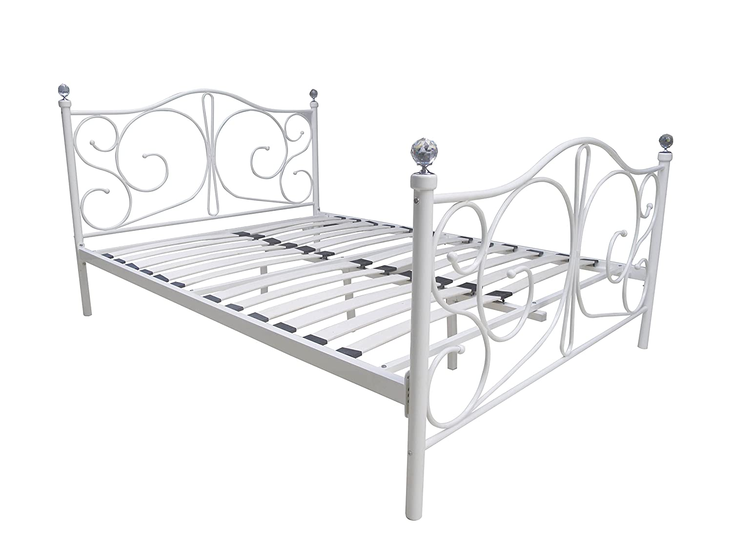 metal bed frame 5ft kingsize in white with crystal finials amazoncouk kitchen u0026 home
