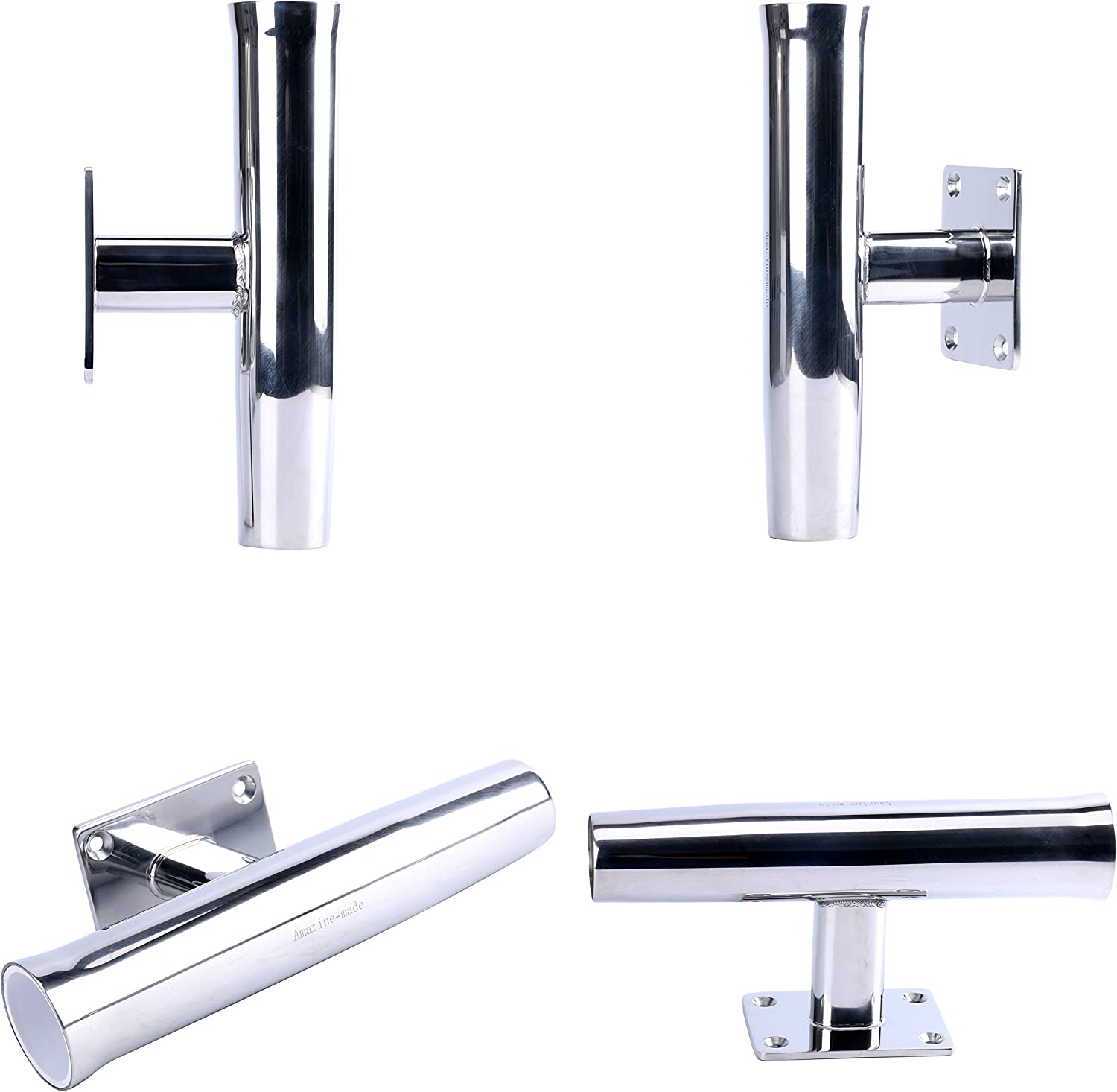 Stainless Steel 30Degree Tournament Style Single Rod Holder Transom//Wall Mounted