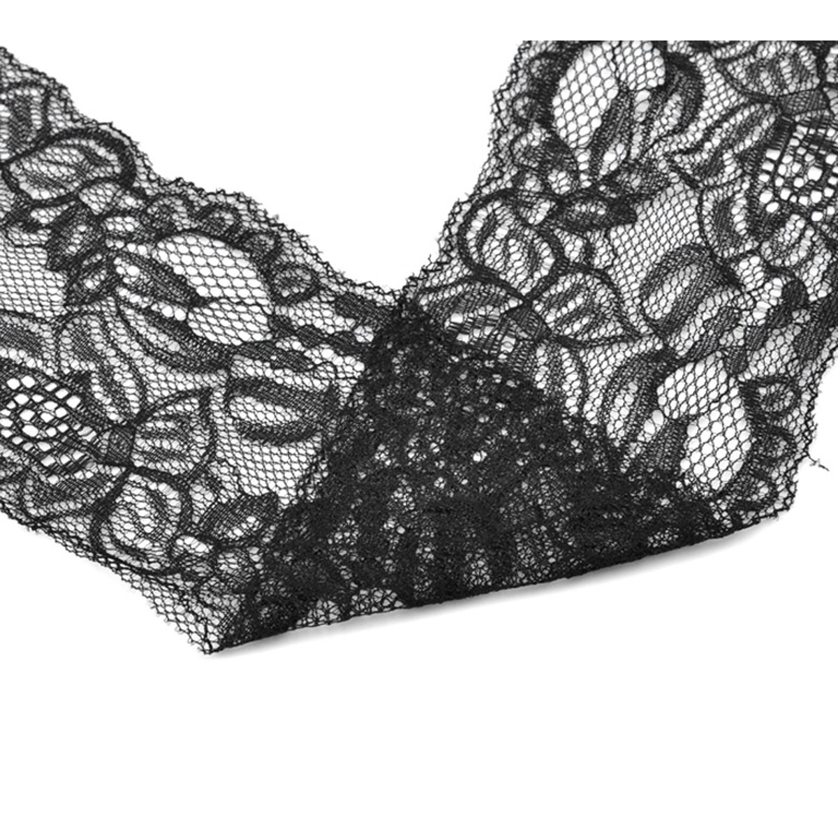 Housweety 10 Yards Black Stretch Floral Lace Edge Trim 3-3/8