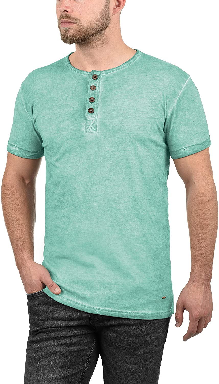 Solid Tihn Mens T-Shirt Short Sleeve Shirt Tee with Grandad Collar Made of 100/% Cotton