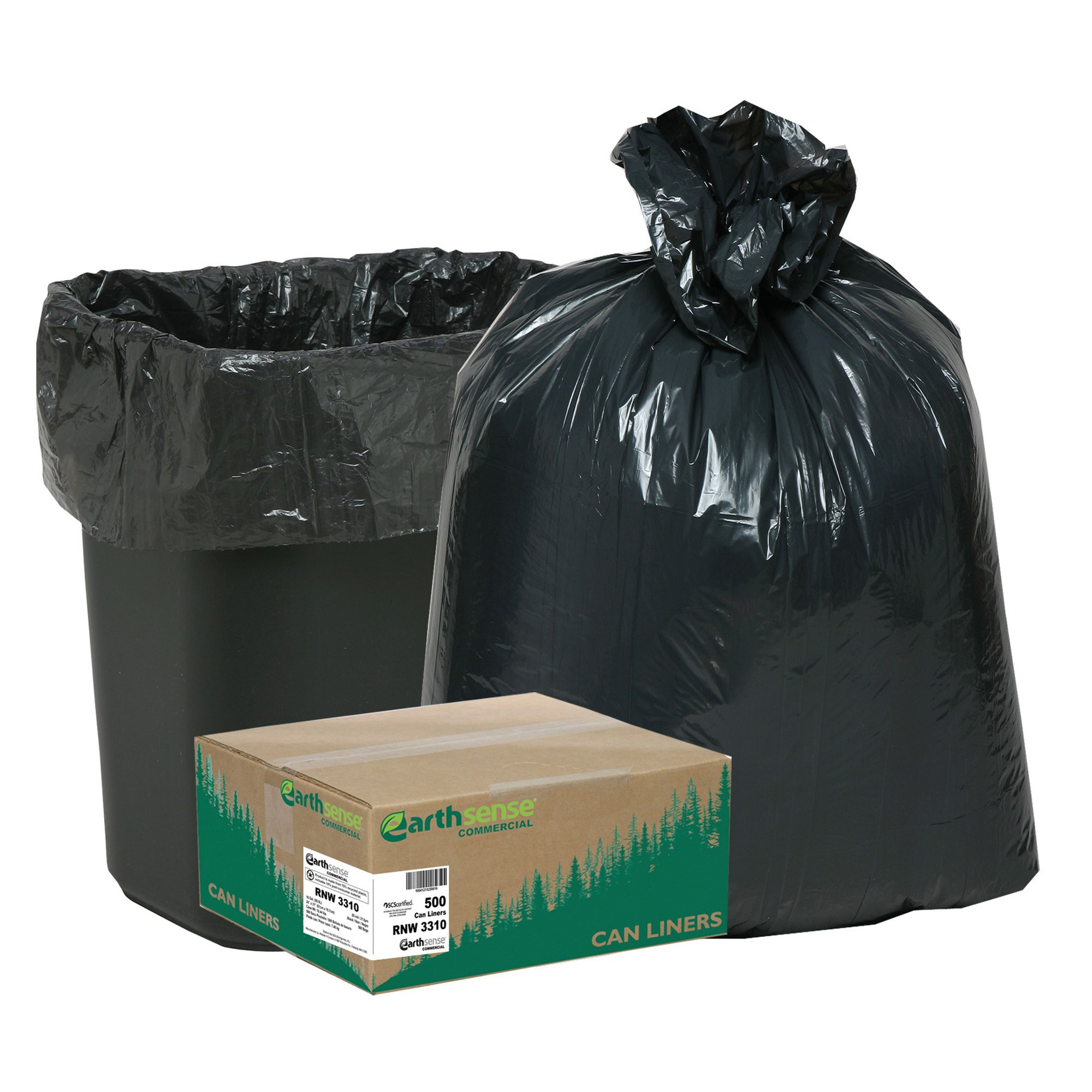 Earthsense Commercial RNW3310 Can Liner, 16 gal.85 mil, 24'' x 33'', Black (Pack of 500) by Earthsense Commercial