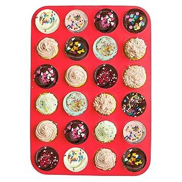 24 tazas silicona magdalenas, jamhoodirect Premium Mini Cupcakes bandejas bandeja para hornear, antiadherente/lavavajillas, molde de silicona de grado de ...