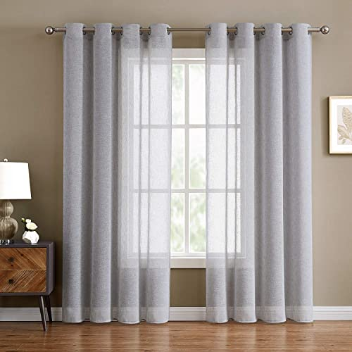 Fragrantex Semi-Sheer Grey Curtains Bedroom 95 inch Long for Living Room Flax Linen Look Sliver Gray Curtain Sheers Window Treatment Set Grommet Curtain 2 Panels