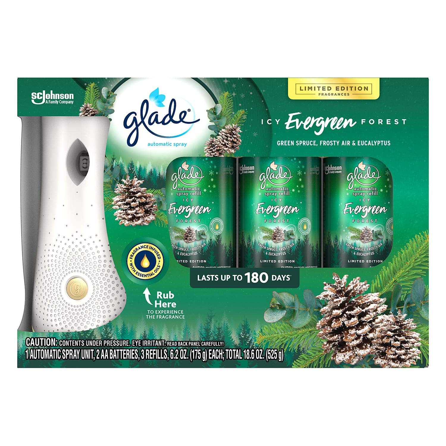 Glade Automatic Spray Refill - Holiday Collection 2018 - Enchanted Evergreens - Net Wt. 6.2 OZ (175 g) Per Refill Can - Pack of 3 Refill Cans by Glade