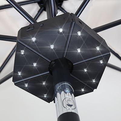 Baner Garden TD17 Patio Umbrella Light, Cordless 18 LED Night Lights, Umbrella Pole Light for Patio Umbrella, Outdoor Use or Table Light (Matte Black)