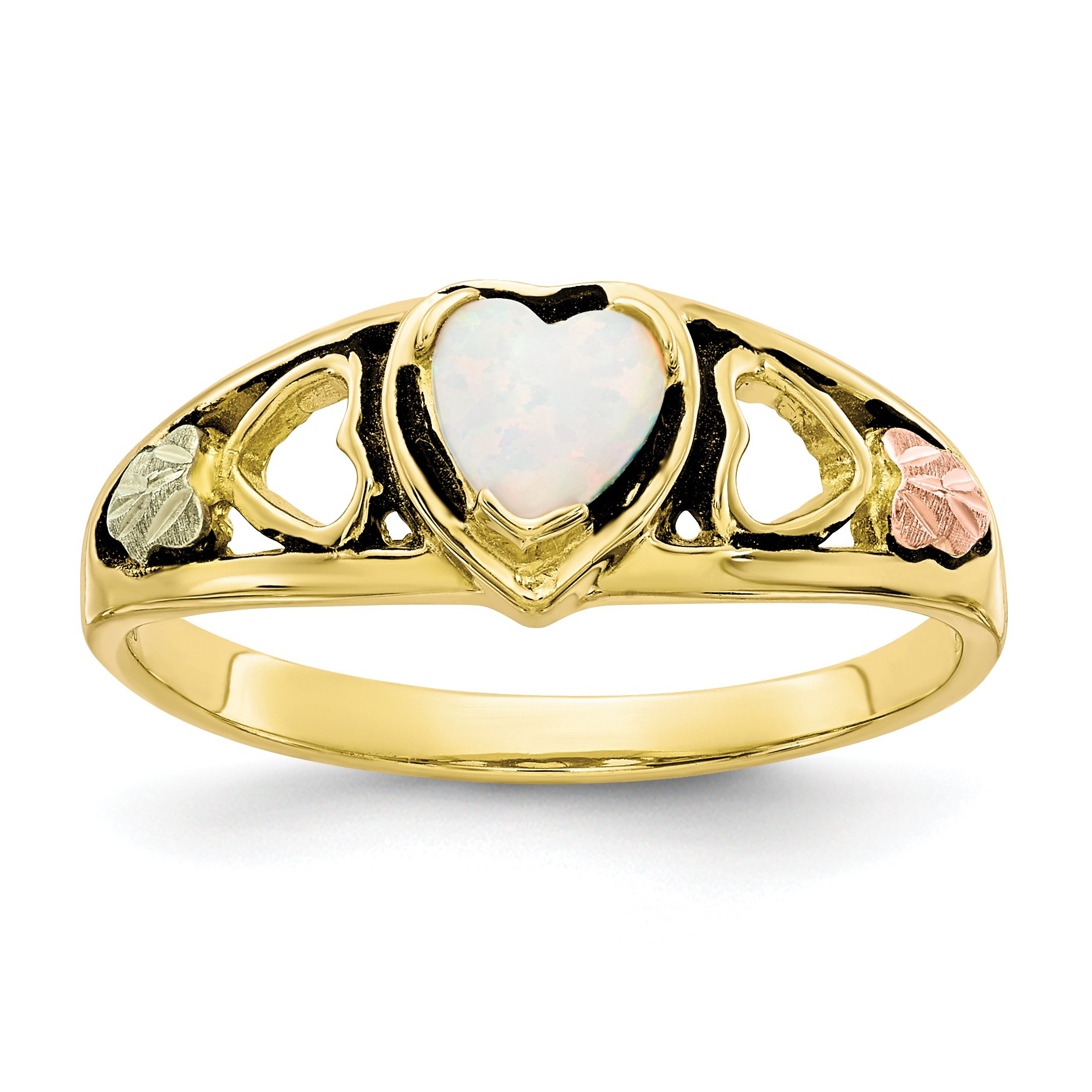 ICE CARATS 10k Tri Color Black Hills Gold Created Opal Heart Band Ring Size 7.00 S/love Fine Jewelry Gift Set For Women Heart