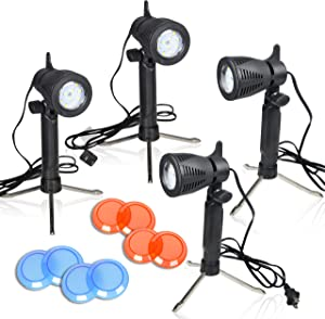 Emart Photography LED Continuous Light Lamp 5500K Portable Camera Photo Lighting for Table Top Studio - 4 Sets