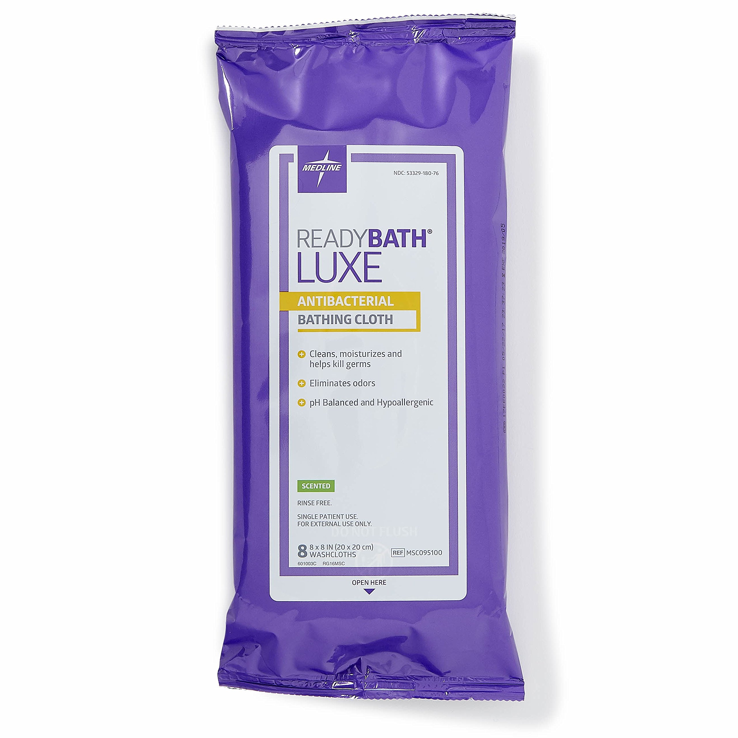 Medline ReadyBath LUXE Antibacterial Body Cleansing Cloth Wipes, Scented, Extra Thick Wipes (8 Count Pack, 24 Packs) by Medline