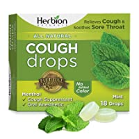 Herbion Naturals Cough Drops with Mint Flavor – 18 Ct – Oral Anesthetic - Relieves Cough - Soothes Sore Throat & Dry Mouth – Eases Bronchial Irritation - for Adults, Children 6 and Above