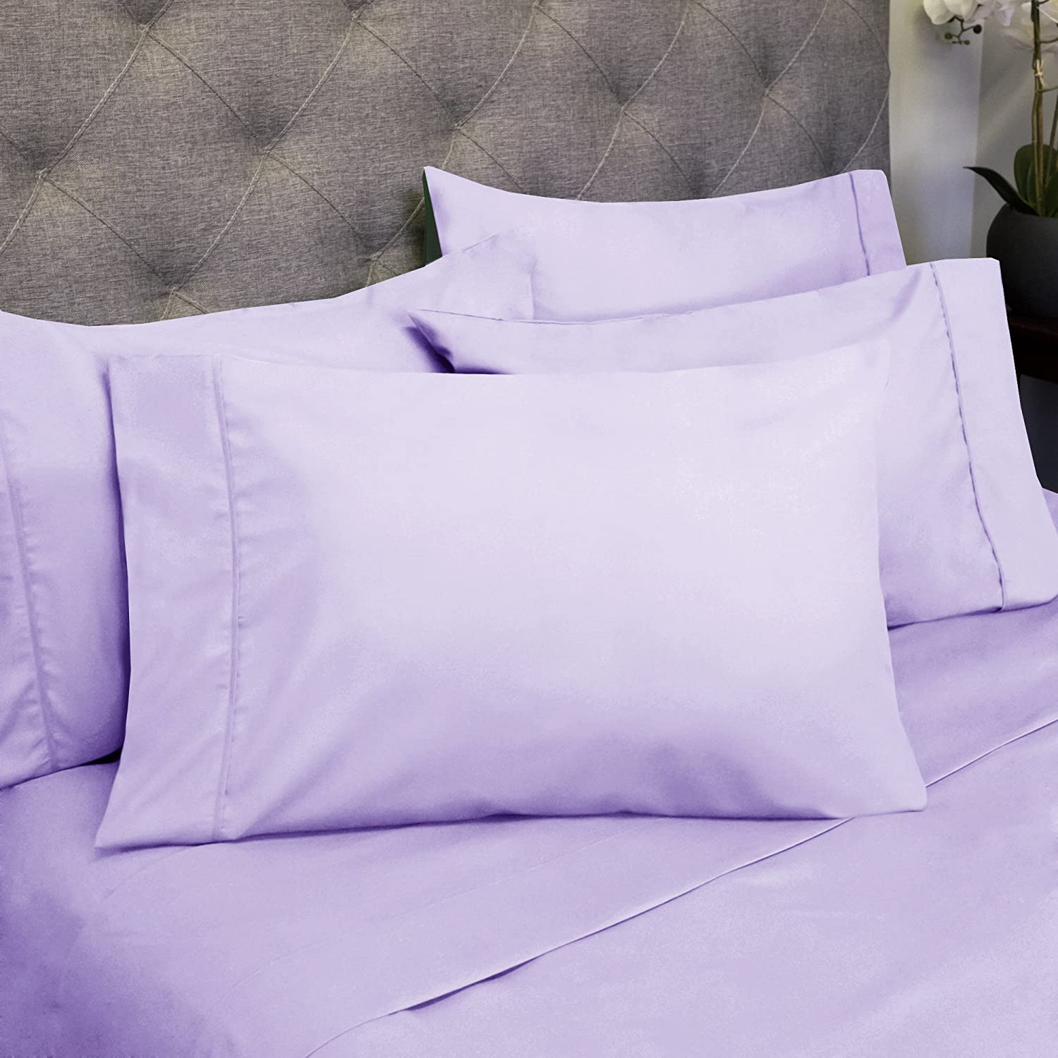 Threadcount Egyptian Quality Deep Pocket Bed Sheet Set - 2 Extra Pillowcases, Great Value - Full, Lavender