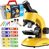 Microscope for Kids, Microscope Kit LED 40X-1200X Magnification Kids Science Toys, Microscope Slides with Specimens for Kids,