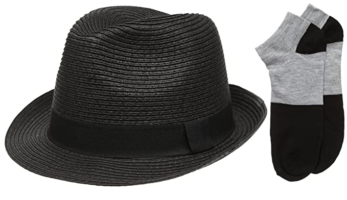 c7f13e424 Men's Short Brim Straw Fedora Hat with Summer Low Cut Sock