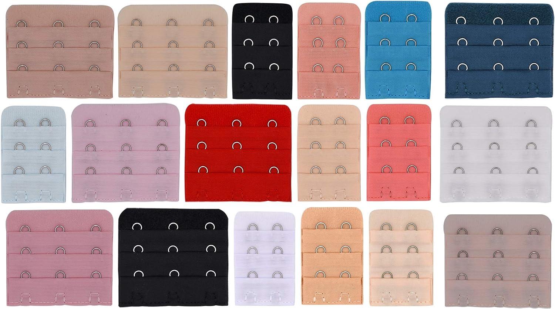 Multicolore SENDILI 18-25 Pezzi Estensione Reggiseno per Donna 2 Ganci Morbide e Comode Reggiseno Estensioni Cinturino 3 File x 3 Ganci