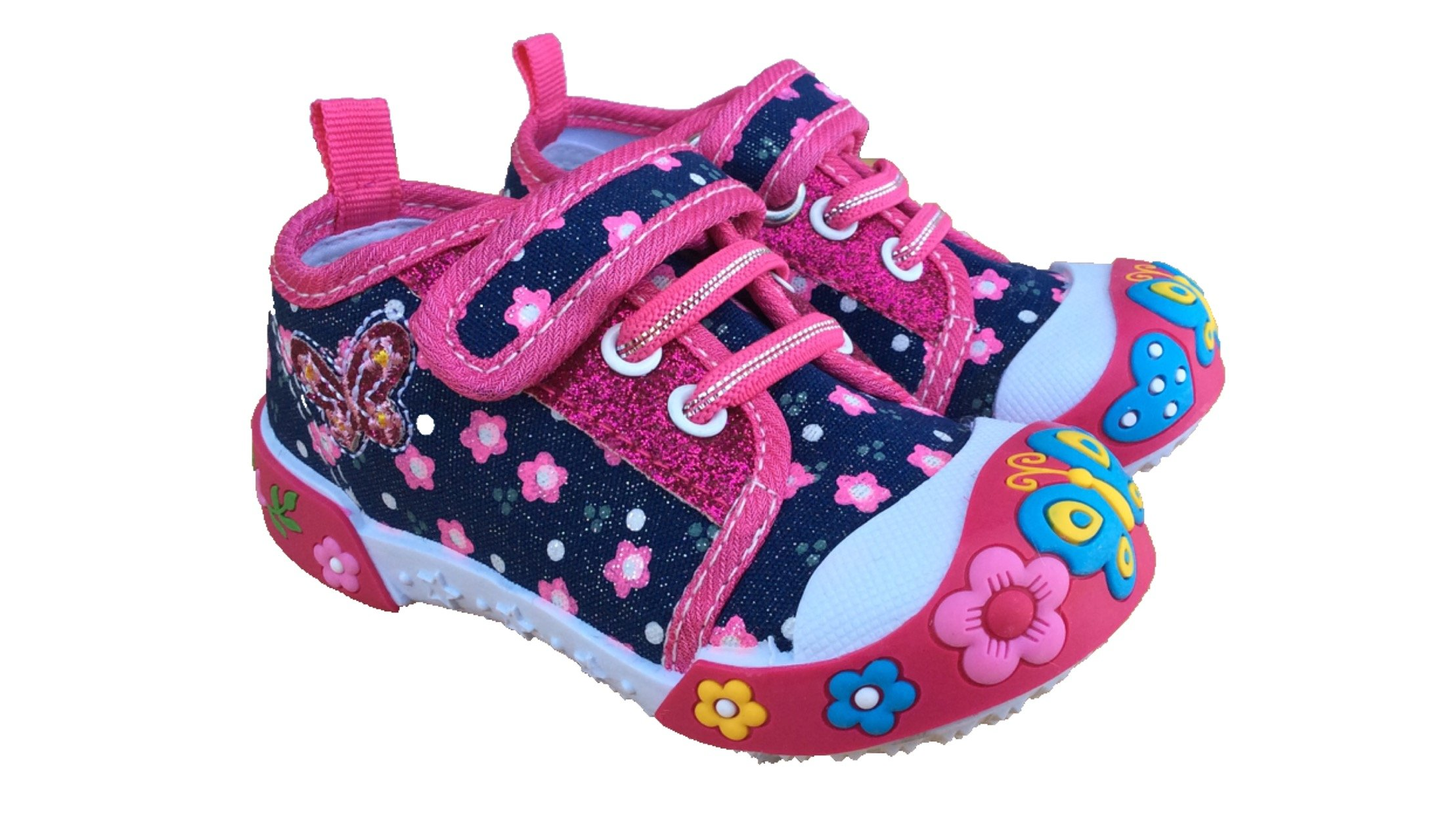 Chulis Baby Toddler Girl Pink Denim Fashion Sneakers Shoes (5)