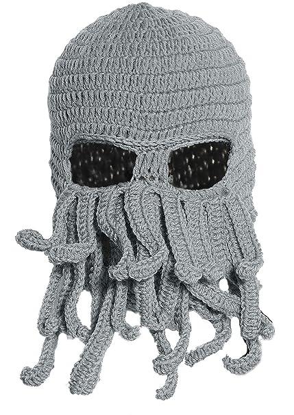 Amazon Gray Crochet Cthulhu Octopus Hat Beanie Ski Mask Clothing