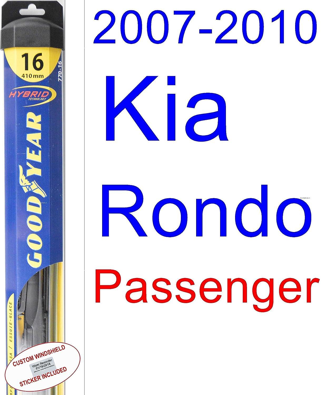2007 - 2010 kia Rondo hoja de limpiaparabrisas de repuesto Set/Kit (Goodyear limpiaparabrisas blades-hybrid) (2008,2009): Amazon.es: Coche y moto