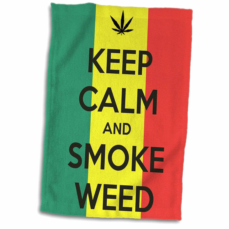 3D Rose Keep Calm and Smoke Weed Towel 15 x 22