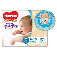 Huggies Ultimate Nappy Pants, Boys, Size 5 Walker (14-18kg), 51 Count