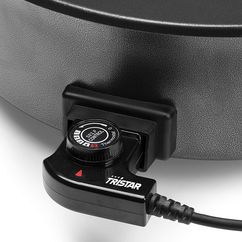Tristar PZ-9145 - Paellera eléctrica multifunción XXL, 40 cm de diámetro, termostato ajustable, color negro