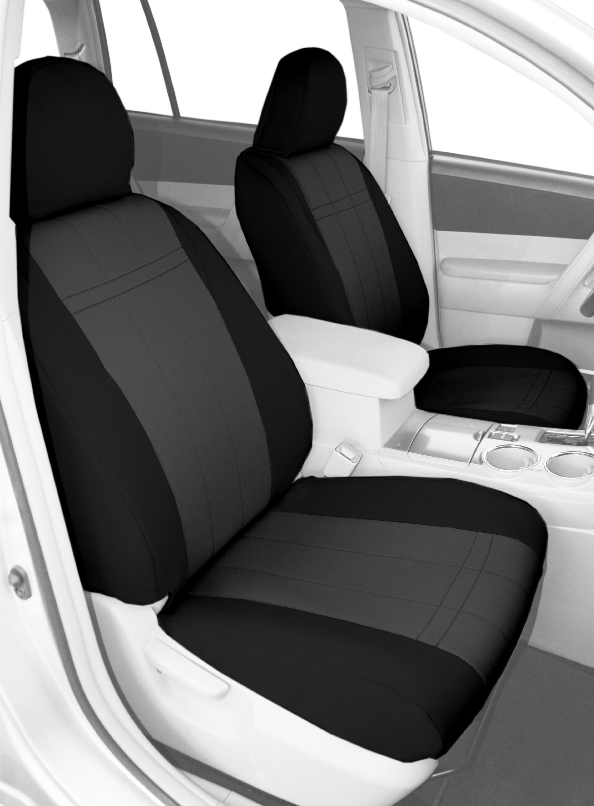 CalTrend Front Row Bucket Custom Fit Seat Cover for Select Toyota Tacoma Models - Neoprene (Charcoal Insert with Black Trim) by CalTrend