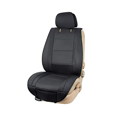 Basics Deluxe Sideless Universal Fit Leatherette Seat Cover, Black: Automotive