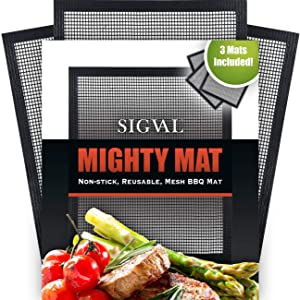 SIGVAL Mighty Mat - Reinforced Non-Stick Grill Mesh Mats - Set of 3 - Use as Smoker Mat, Baking Mat, and BBQ Mat to Cook Fish, Vegetables, Meats on Smoker or Grill