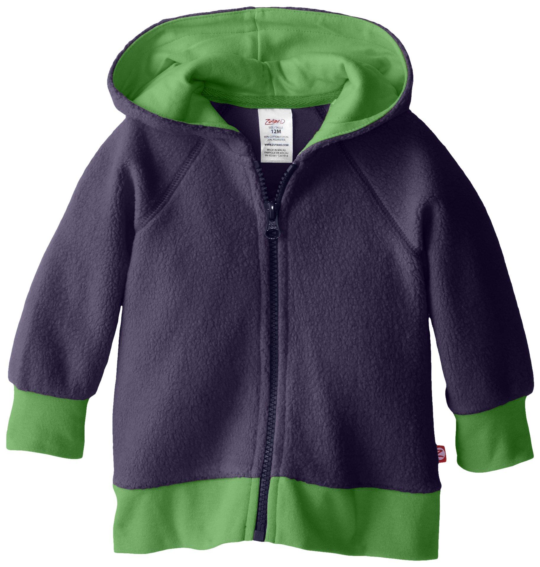 Zutano Unisex Baby Cozie Fleece Contrast Hoodie, Navy, 24 Months by Zutano