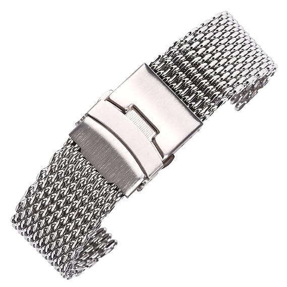 26ff0af8d5f3 banda de reloj de lujo de malla de metal sólido pulsera de reloj de acero  inoxidable con cierre de plegado cepillado