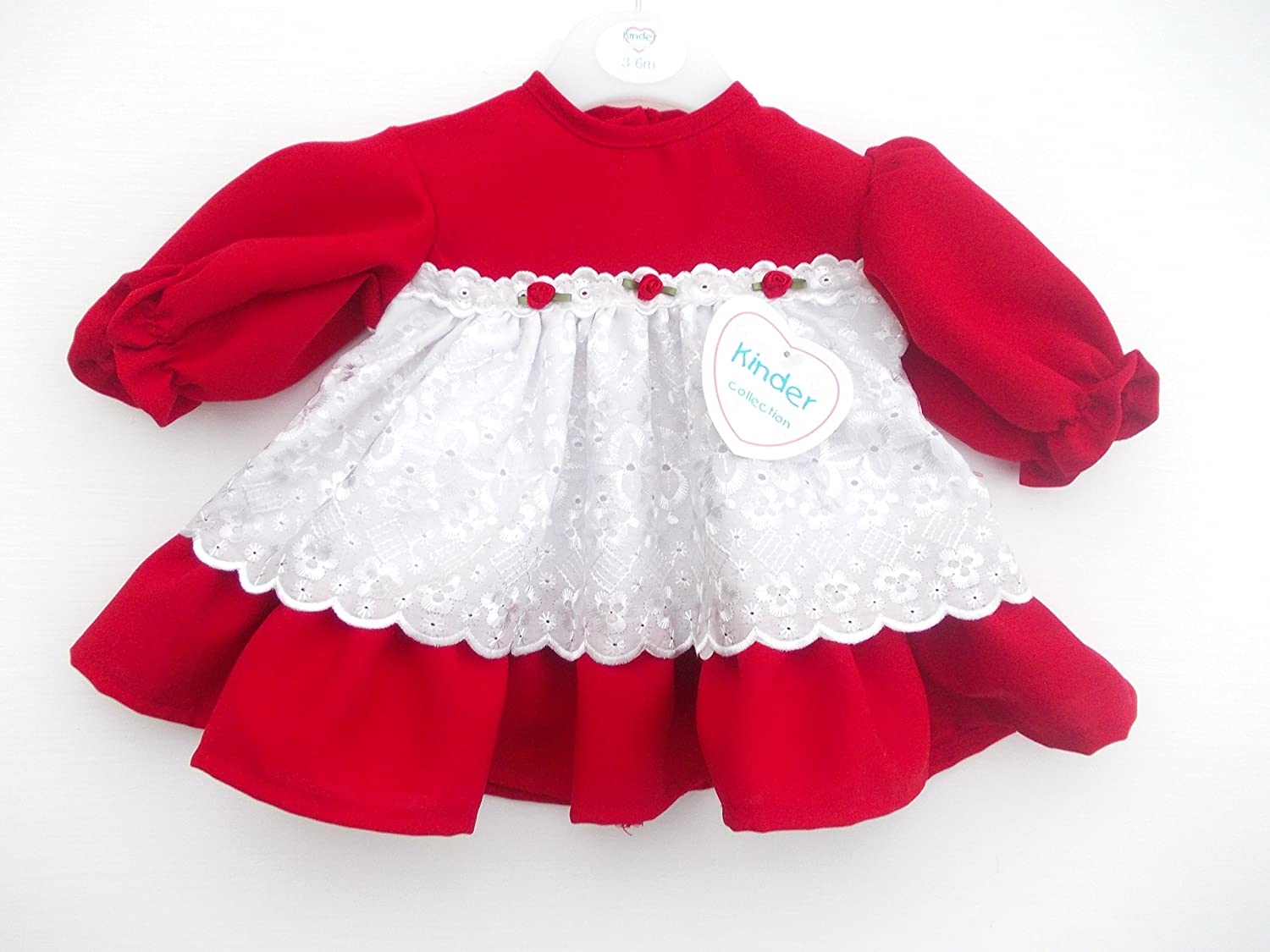 5e862fdd3 BNWT baby girls clothes red and white Christmas kinder dress Made in ...