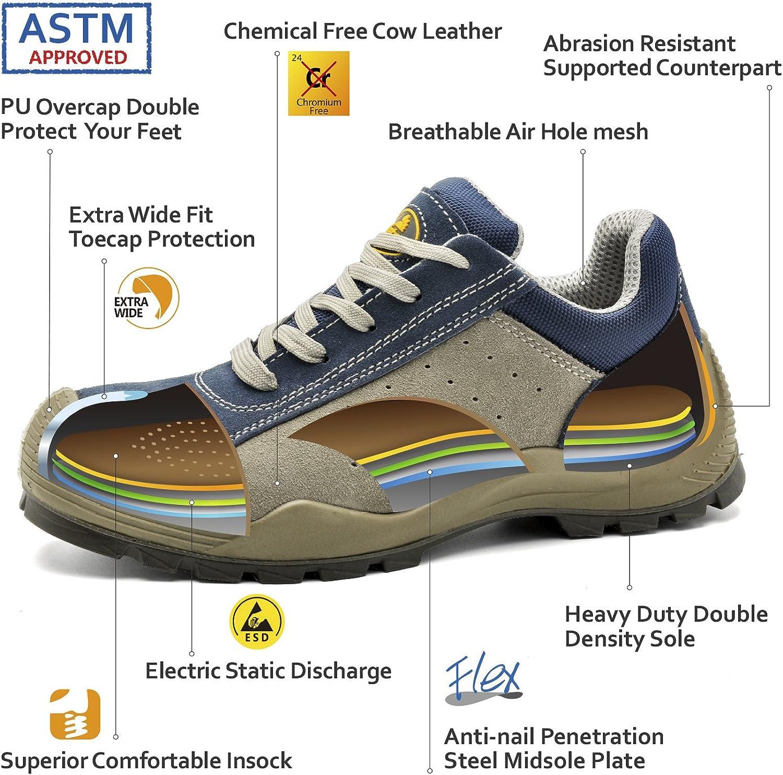 7296Y Calzados de Seguridad Trabajo S1P con Puntera de Acero Zapatos de Seguridad Deportivos para Hombres