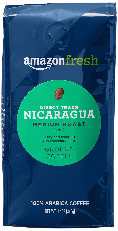AmazonFresh Direct Trade Nicaragua Ground Coffee, Medium Roast, 12 Ounce