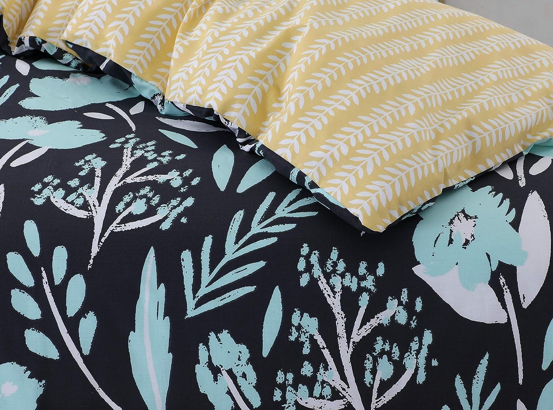 Argento tropicale ultra morbido facile da pulire 3 pezzi Divine Textiles con 2 federe Single motivo reversibile 135x200 set copripiumino stampato